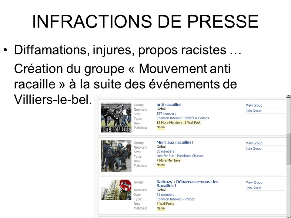 INFRACTIONS DE PRESSE Diffamations, injures, propos racistes …