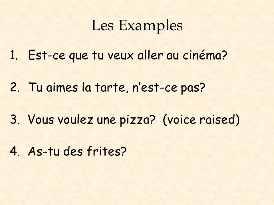 Les Examples Est-ce que tu veux aller au cinéma