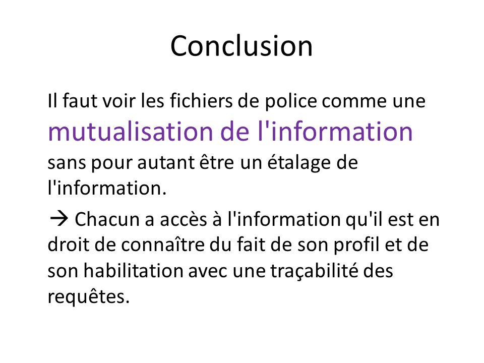 Conclusion Il faut voir les fichiers de police comme une mutualisation de l information sans pour autant être un étalage de l information.