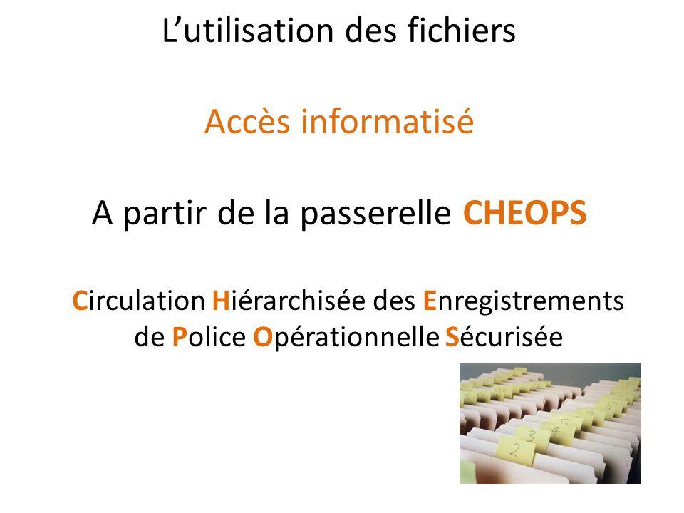 L'utilisation des fichiers Accès informatisé A partir de la passerelle CHEOPS