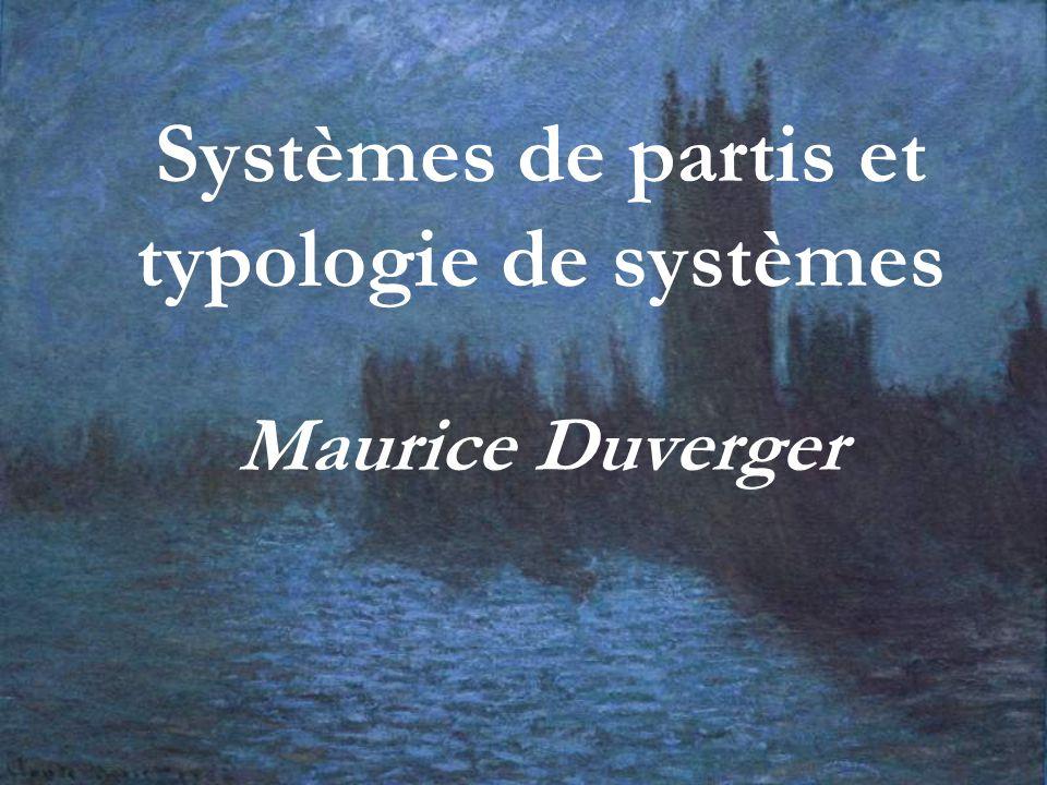 Systèmes de partis et typologie de systèmes