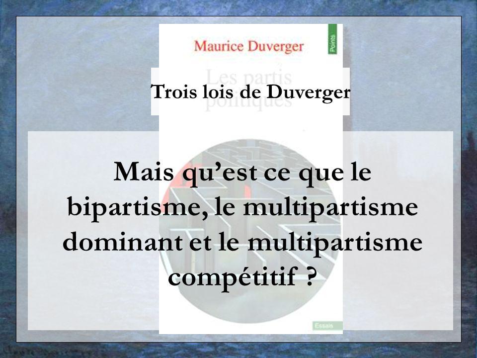 Trois lois de Duverger Mais qu'est ce que le bipartisme, le multipartisme dominant et le multipartisme compétitif