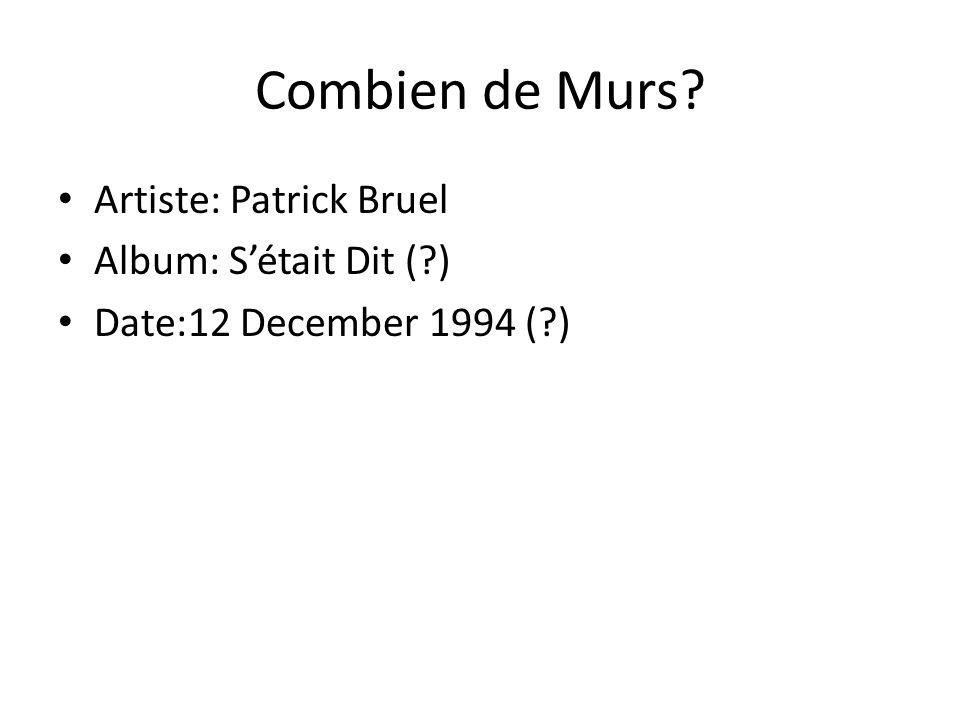 Combien de Murs Artiste: Patrick Bruel Album: S'était Dit ( )