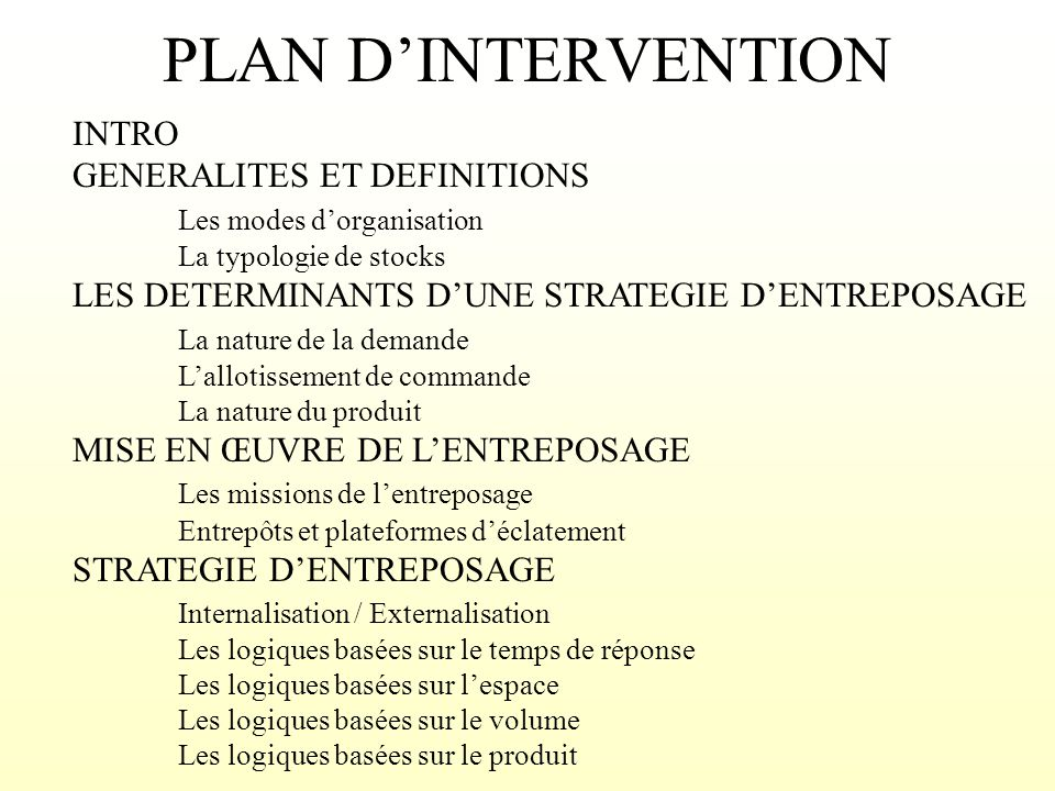 PLAN D'INTERVENTION INTRO GENERALITES ET DEFINITIONS