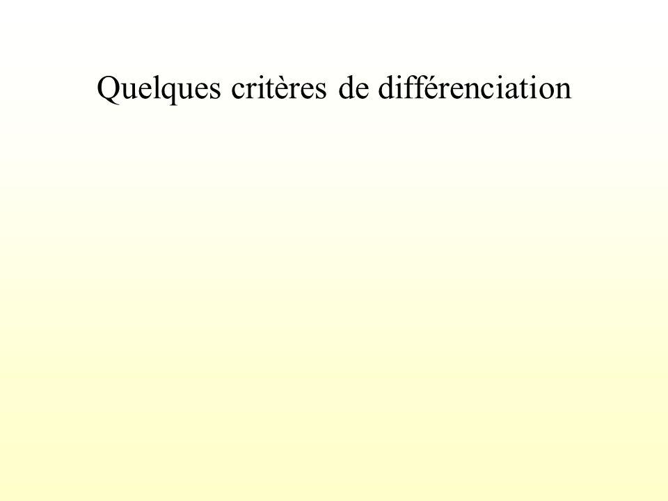 Quelques critères de différenciation