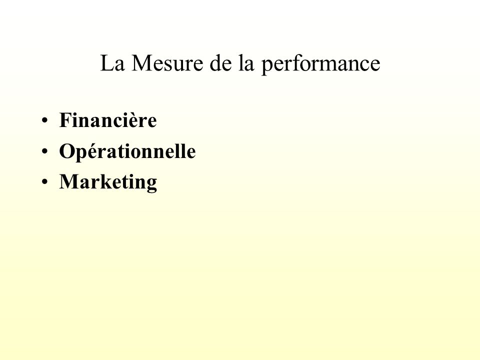 La Mesure de la performance