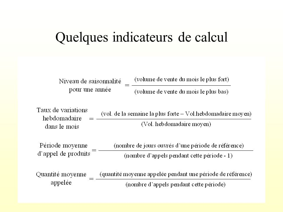 Quelques indicateurs de calcul