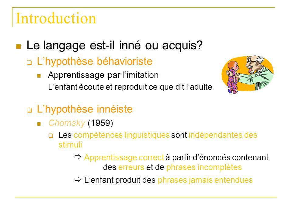 Introduction Le langage est-il inné ou acquis