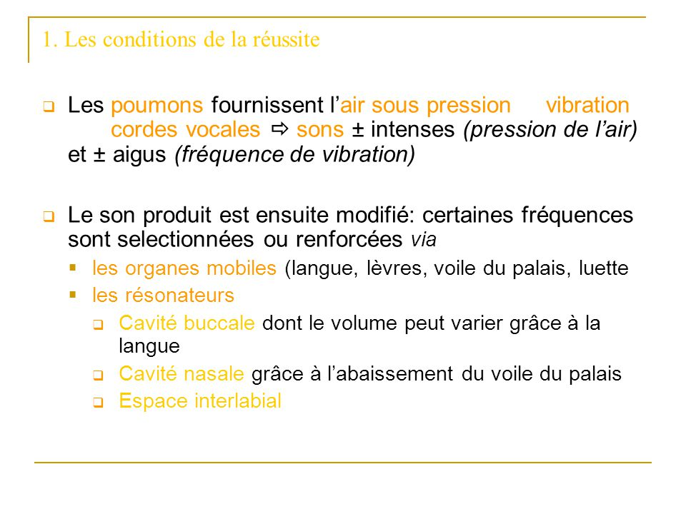 1. Les conditions de la réussite