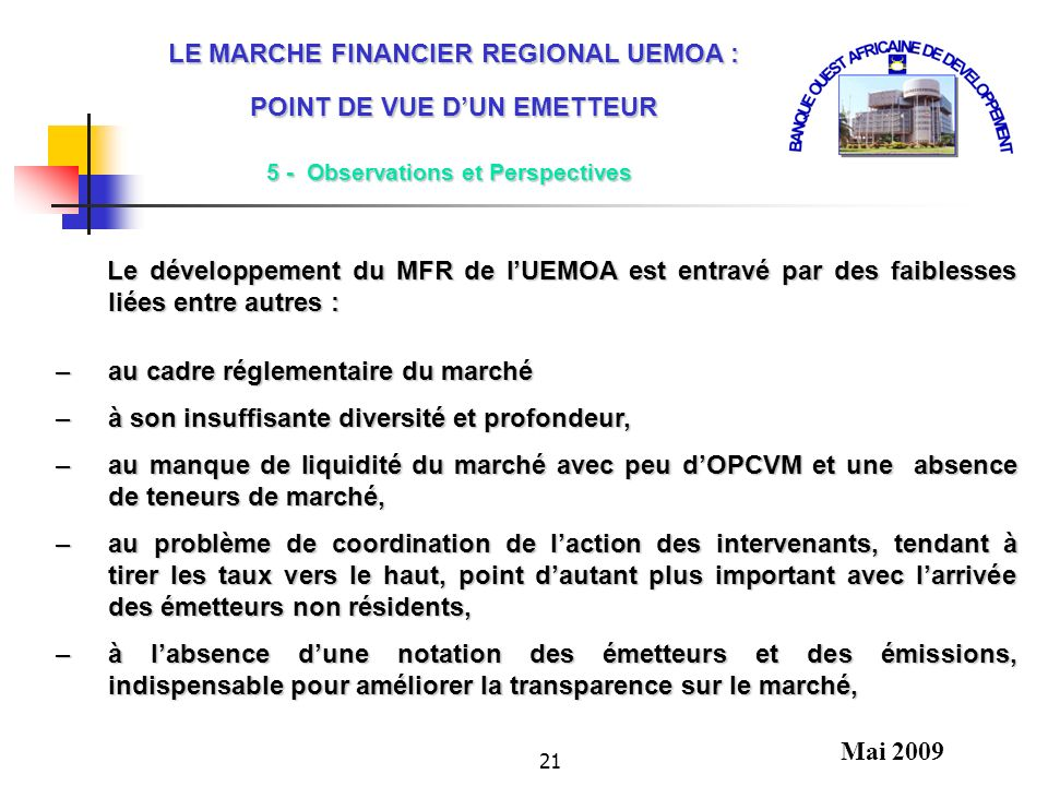 LE MARCHE FINANCIER REGIONAL UEMOA : POINT DE VUE D'UN EMETTEUR