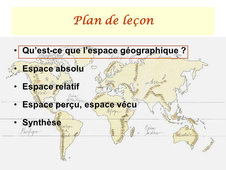 Plan de leçon Qu'est-ce que l'espace géographique Espace absolu