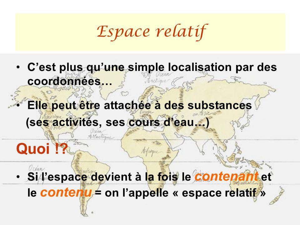 Espace relatif C'est plus qu'une simple localisation par des coordonnées… Elle peut être attachée à des substances.