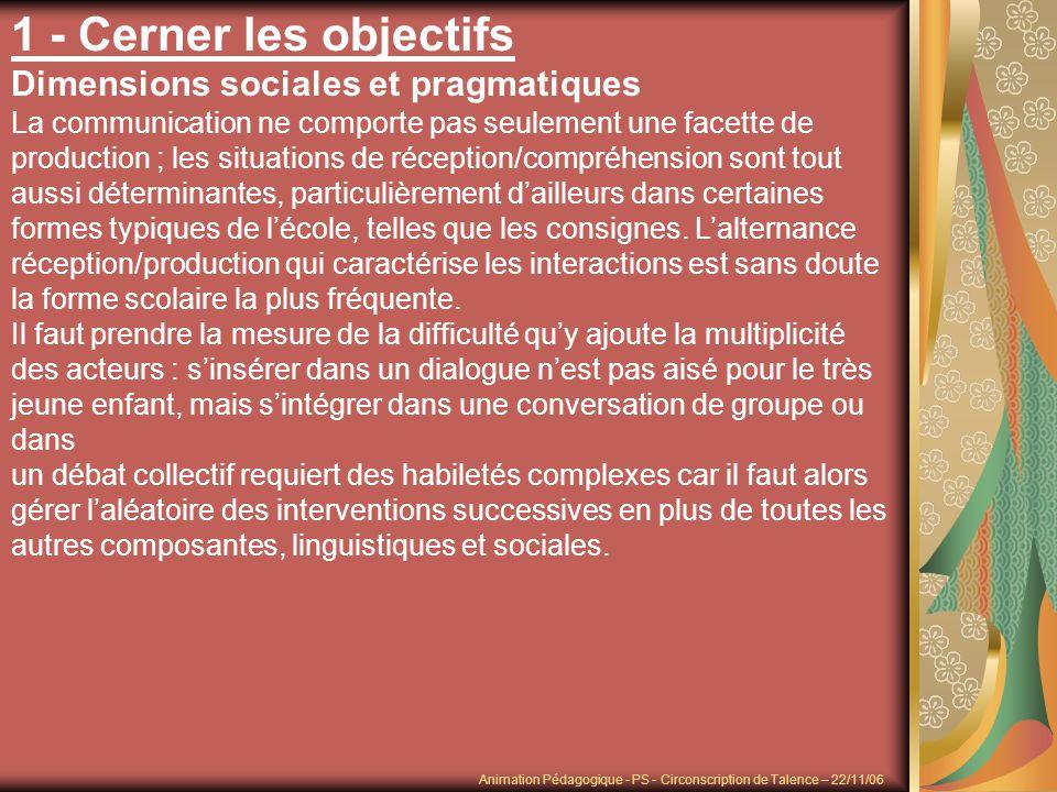 1 - Cerner les objectifs Dimensions sociales et pragmatiques