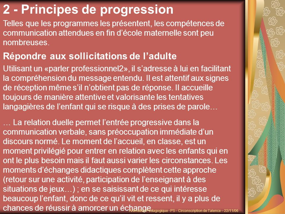 2 - Principes de progression