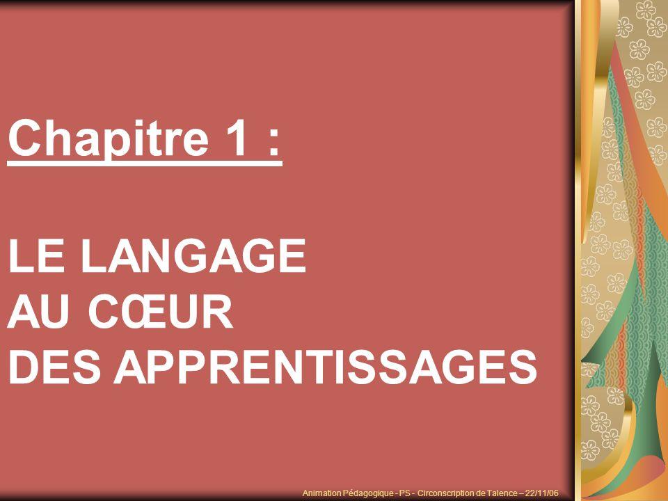 Chapitre 1 : LE LANGAGE AU CŒUR DES APPRENTISSAGES