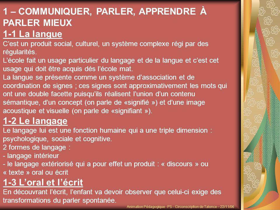 1 – COMMUNIQUER, PARLER, APPRENDRE À PARLER MIEUX 1-1 La langue