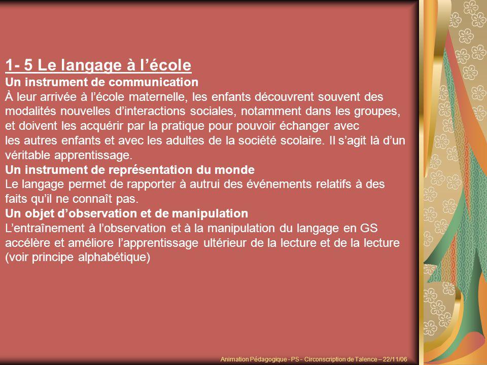 1- 5 Le langage à l'école Un instrument de communication