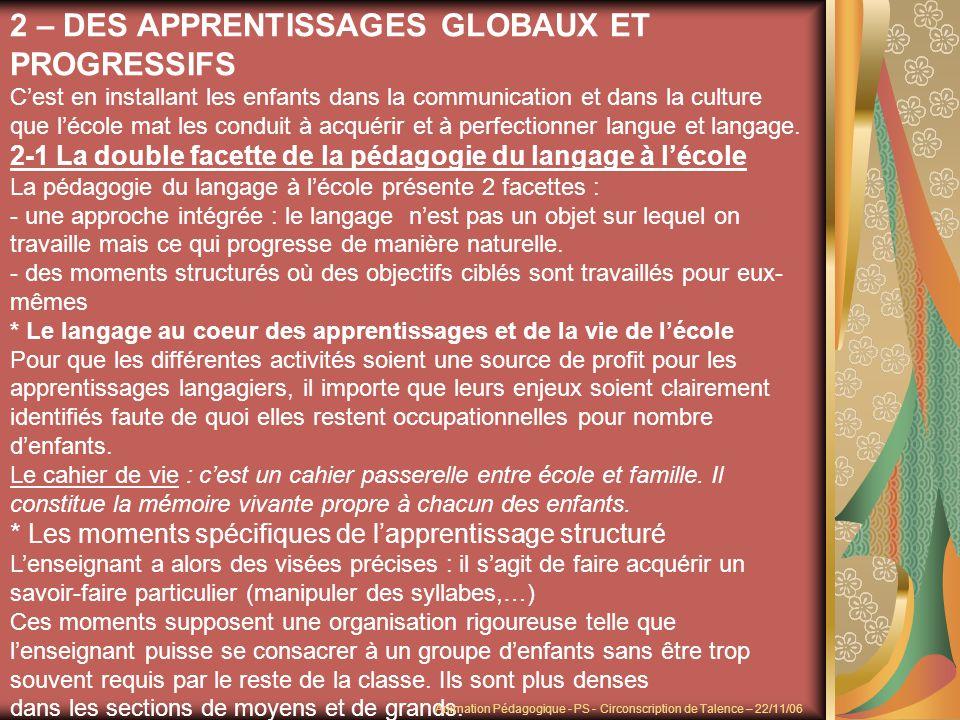 2 – DES APPRENTISSAGES GLOBAUX ET PROGRESSIFS