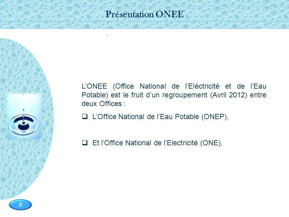 Présentation ONEE - L'ONEE (Office National de l'Eléctricité et de l'Eau Potable) est le fruit d'un regroupement (Avril 2012) entre deux Offices :