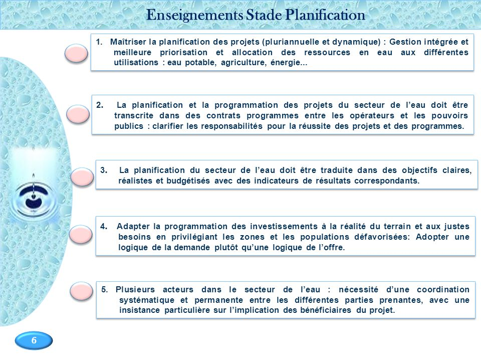 Enseignements Stade Planification