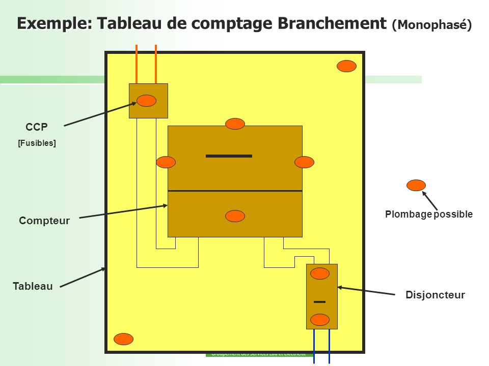 Exemple: Tableau de comptage Branchement (Monophasé)