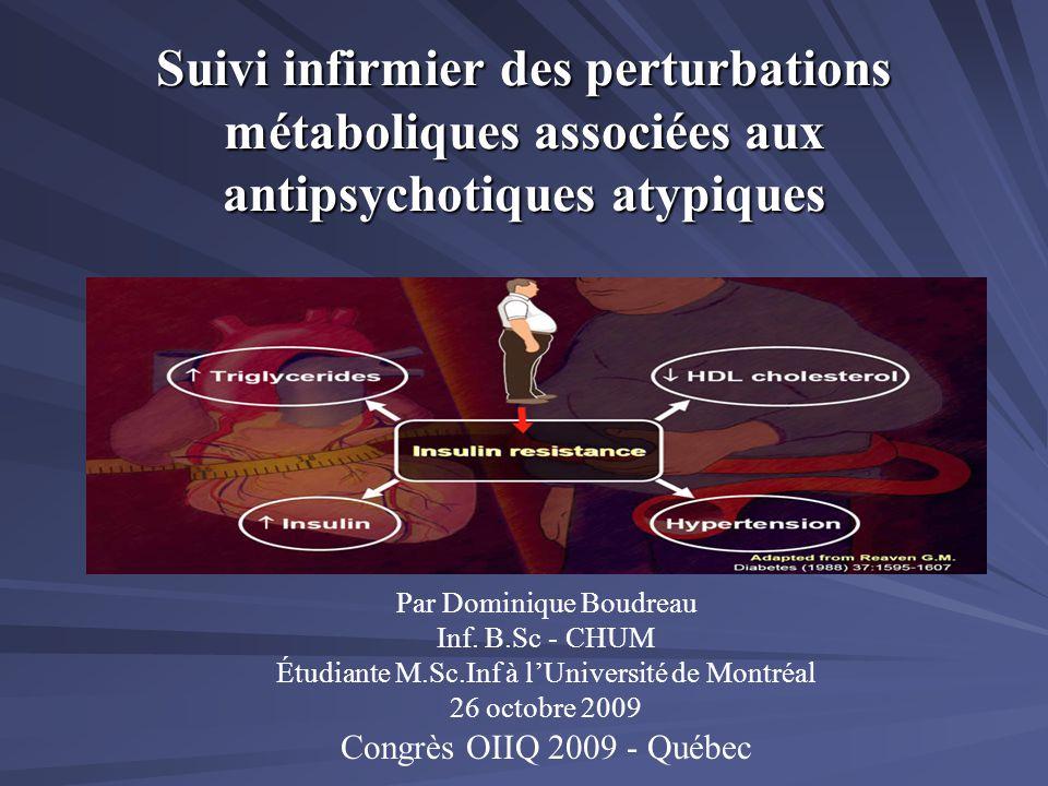 Suivi infirmier des perturbations métaboliques associées aux antipsychotiques atypiques