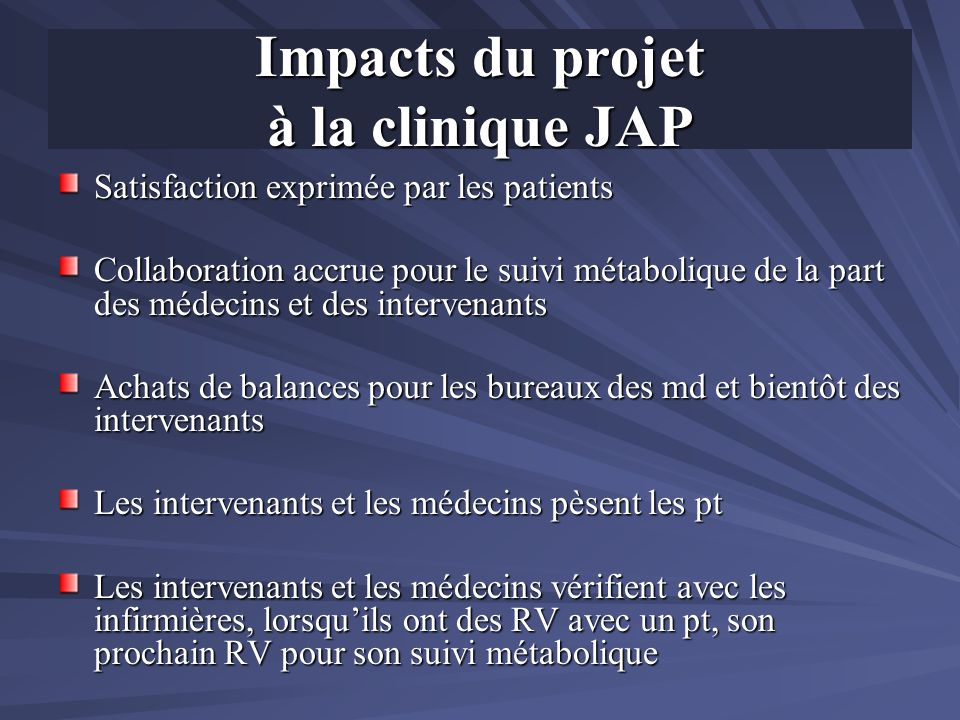Impacts du projet à la clinique JAP