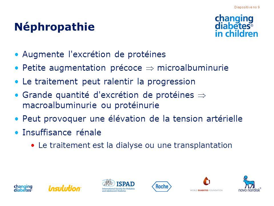 Néphropathie Augmente l excrétion de protéines