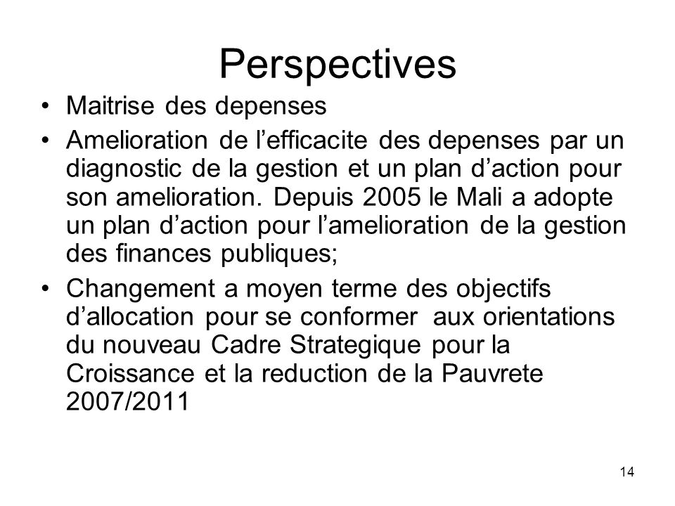 Perspectives Maitrise des depenses