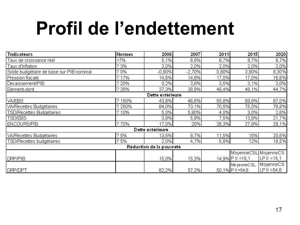 Profil de l'endettement