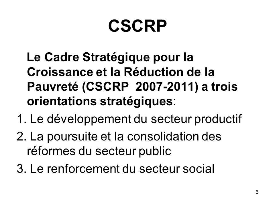 CSCRP Le Cadre Stratégique pour la Croissance et la Réduction de la Pauvreté (CSCRP 2007-2011) a trois orientations stratégiques:
