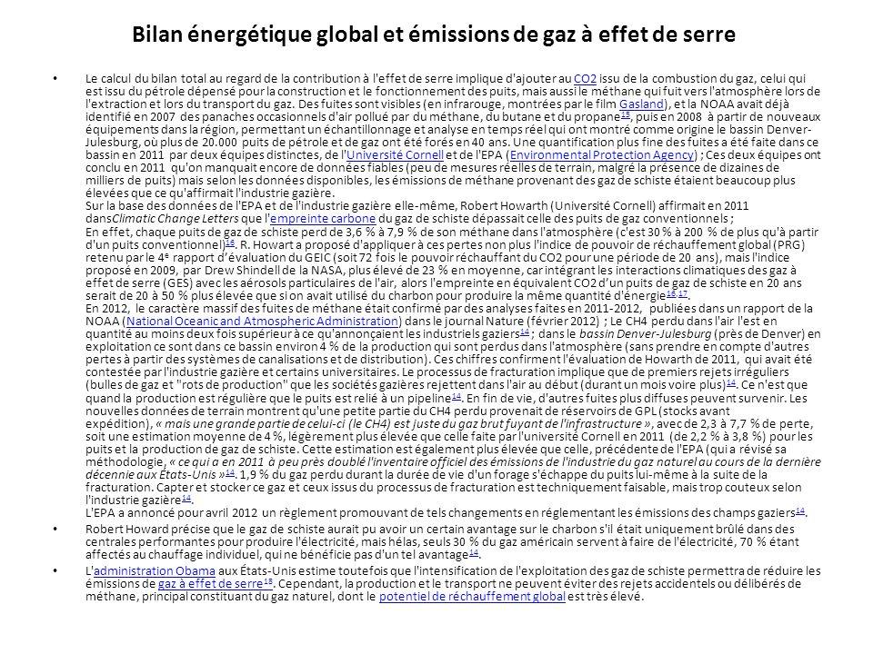 Bilan énergétique global et émissions de gaz à effet de serre