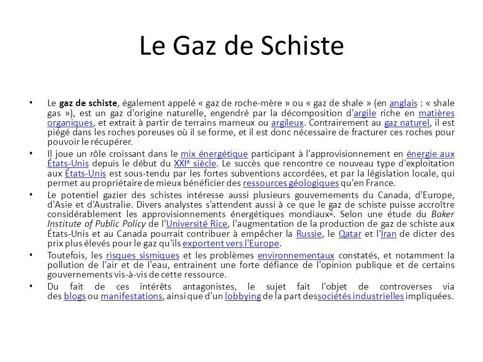 Le Gaz de Schiste
