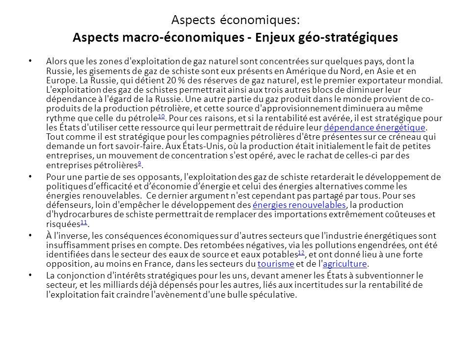 Aspects économiques: Aspects macro-économiques - Enjeux géo-stratégiques