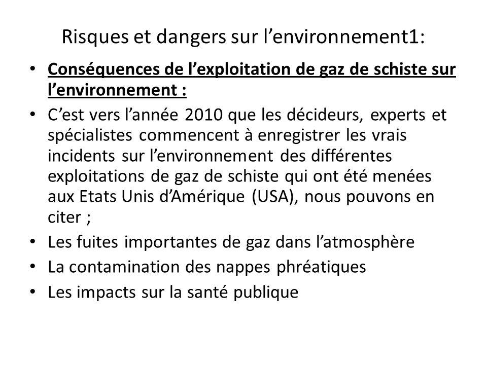 Risques et dangers sur l'environnement1: