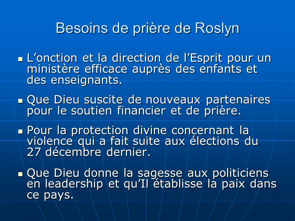 Besoins de prière de Roslyn