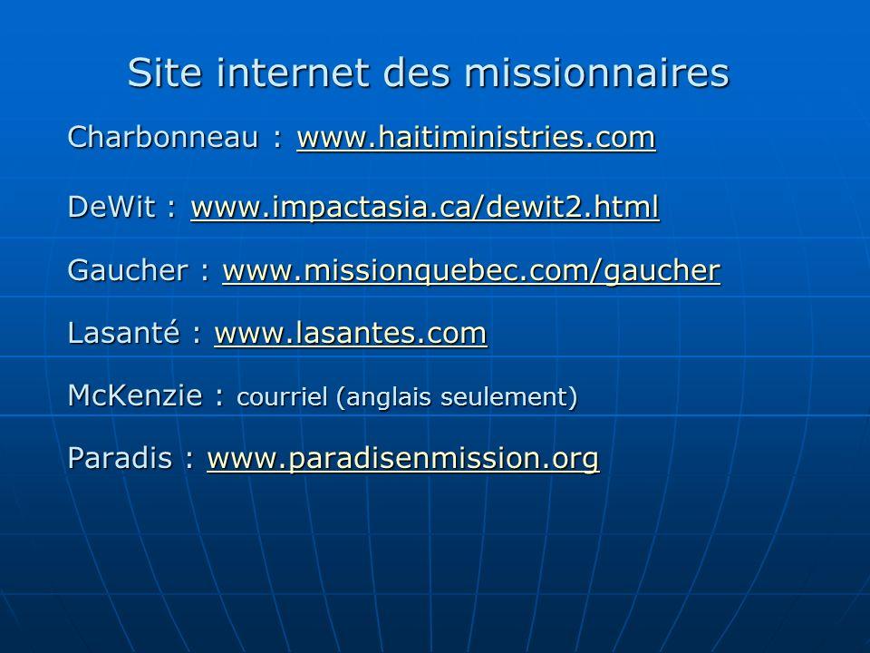 Site internet des missionnaires