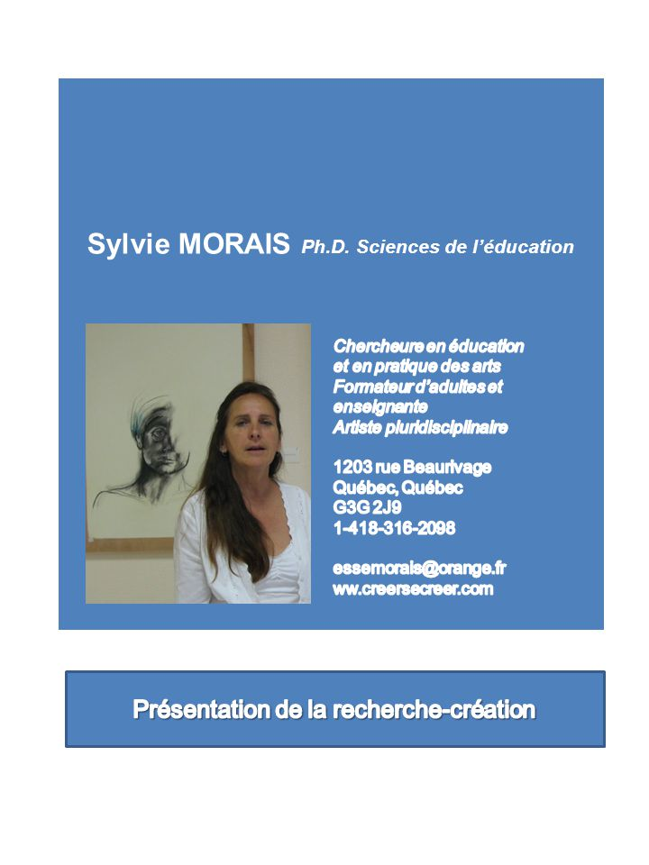 Sylvie MORAIS Ph.D. Sciences de l'éducation