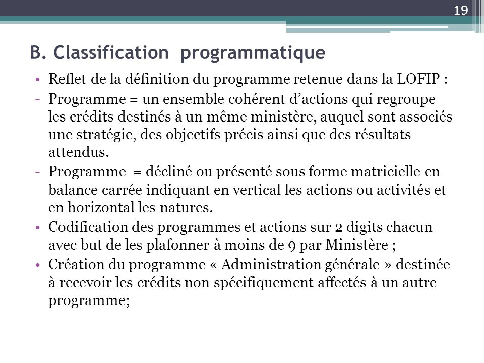B. Classification programmatique