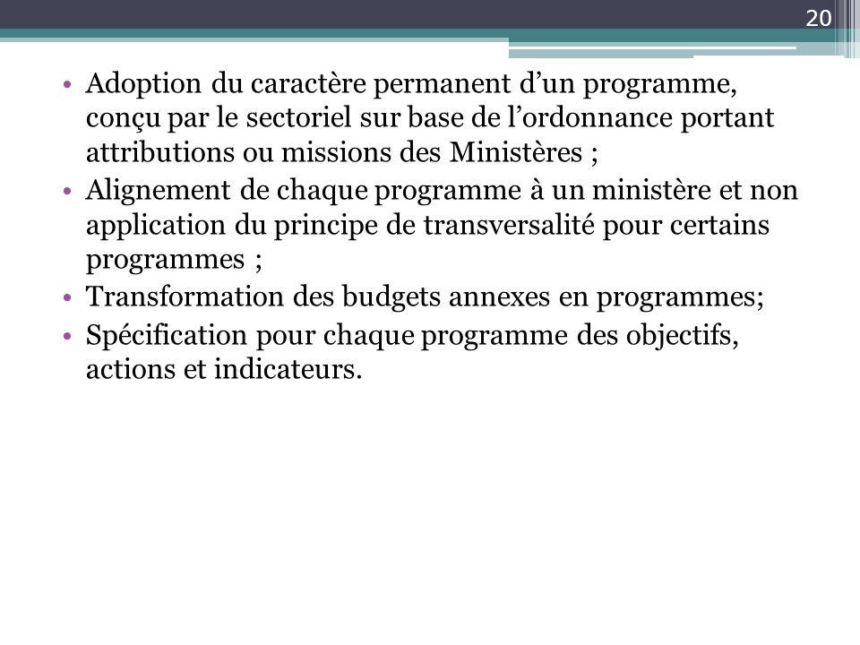 Adoption du caractère permanent d'un programme, conçu par le sectoriel sur base de l'ordonnance portant attributions ou missions des Ministères ;