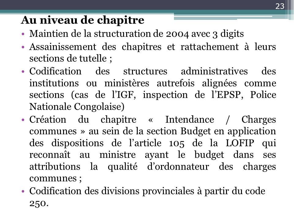 Au niveau de chapitreMaintien de la structuration de 2004 avec 3 digits. Assainissement des chapitres et rattachement à leurs sections de tutelle ;