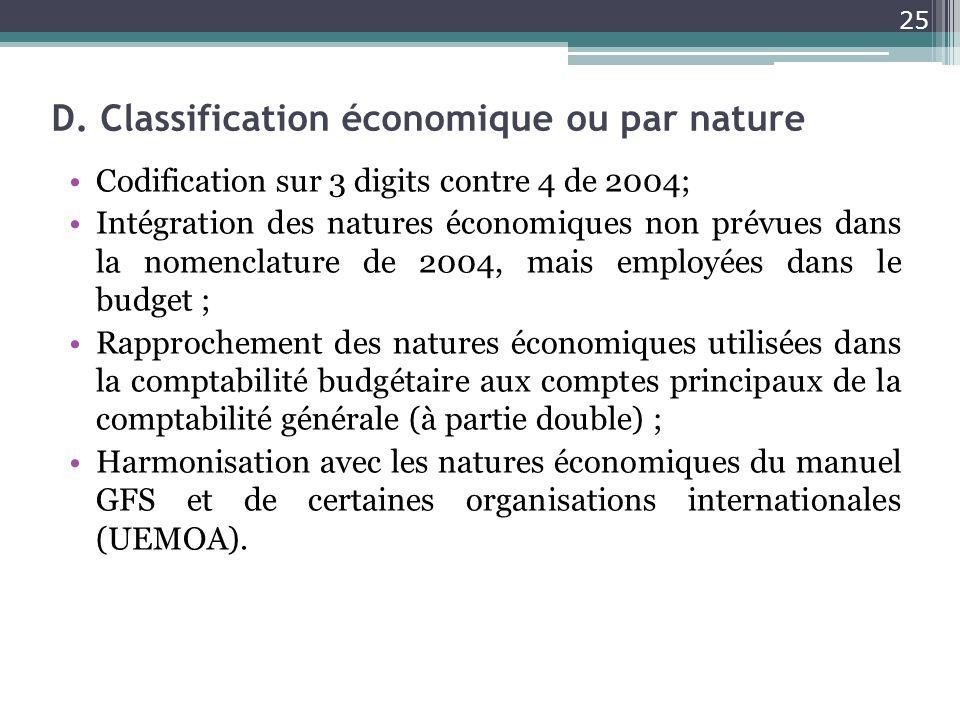 D. Classification économique ou par nature