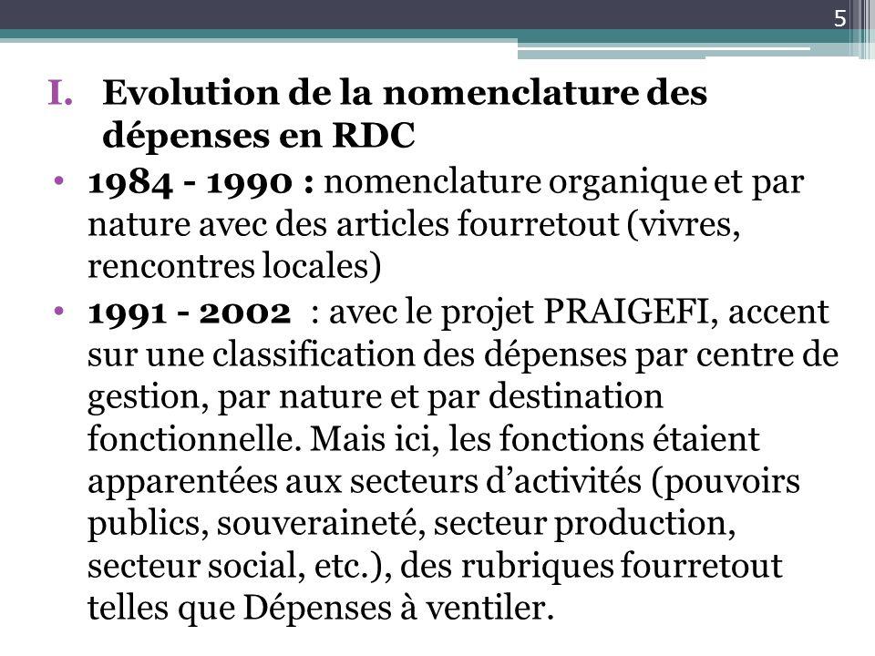 Evolution de la nomenclature des dépenses en RDC