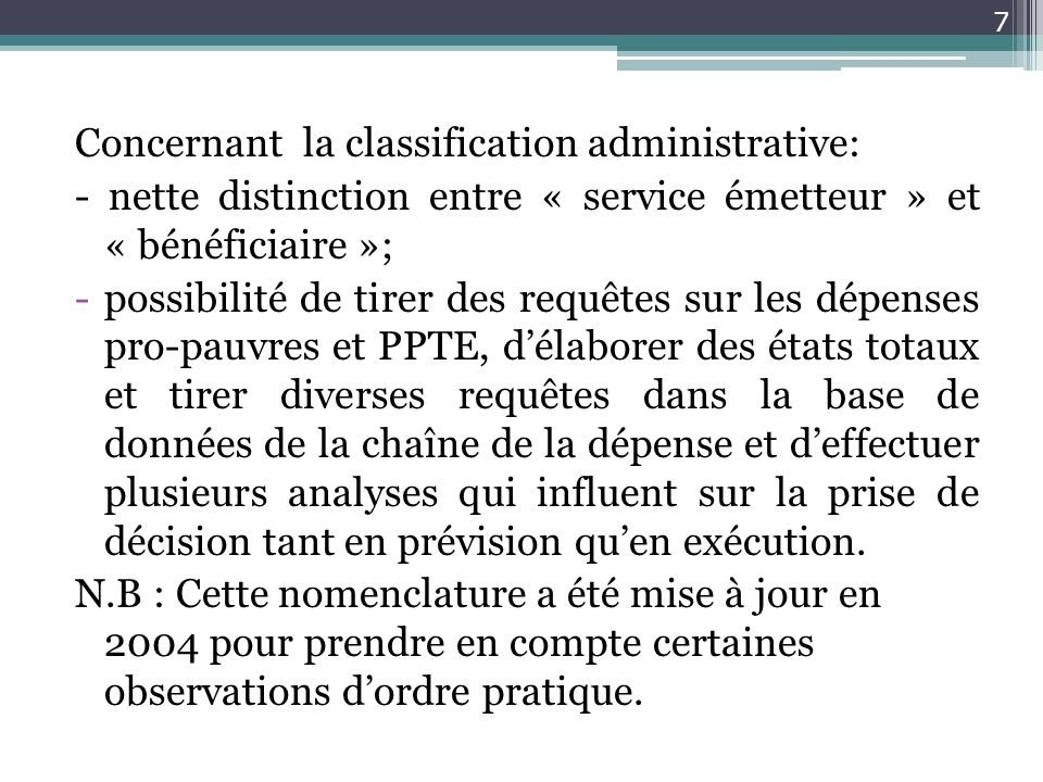 Concernant la classification administrative: