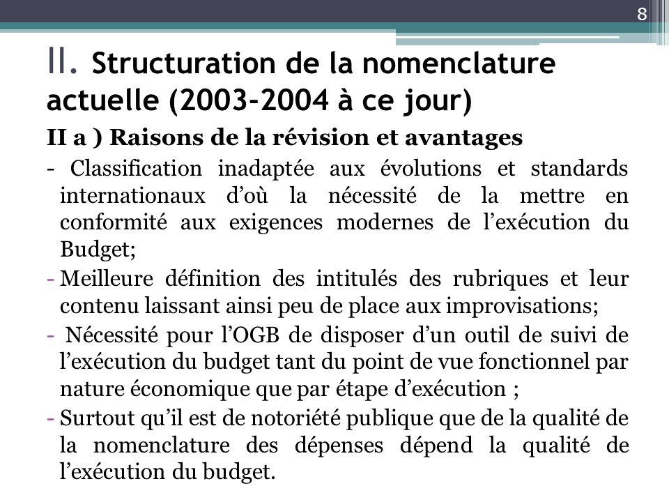 II. Structuration de la nomenclature actuelle (2003-2004 à ce jour)