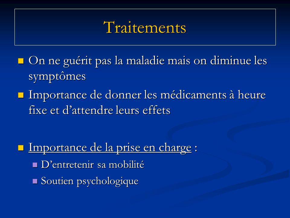 Traitements On ne guérit pas la maladie mais on diminue les symptômes