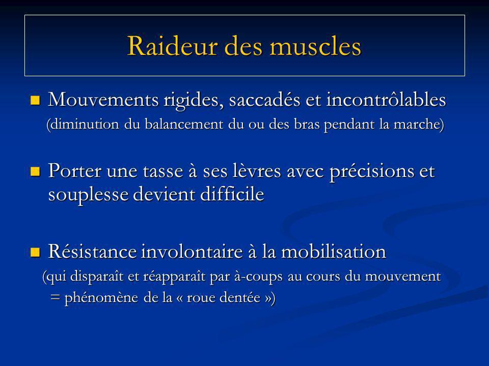 Raideur des muscles Mouvements rigides, saccadés et incontrôlables