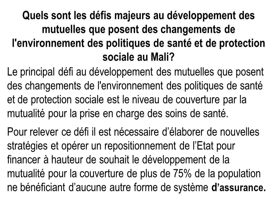 Quels sont les défis majeurs au développement des mutuelles que posent des changements de l environnement des politiques de santé et de protection sociale au Mali