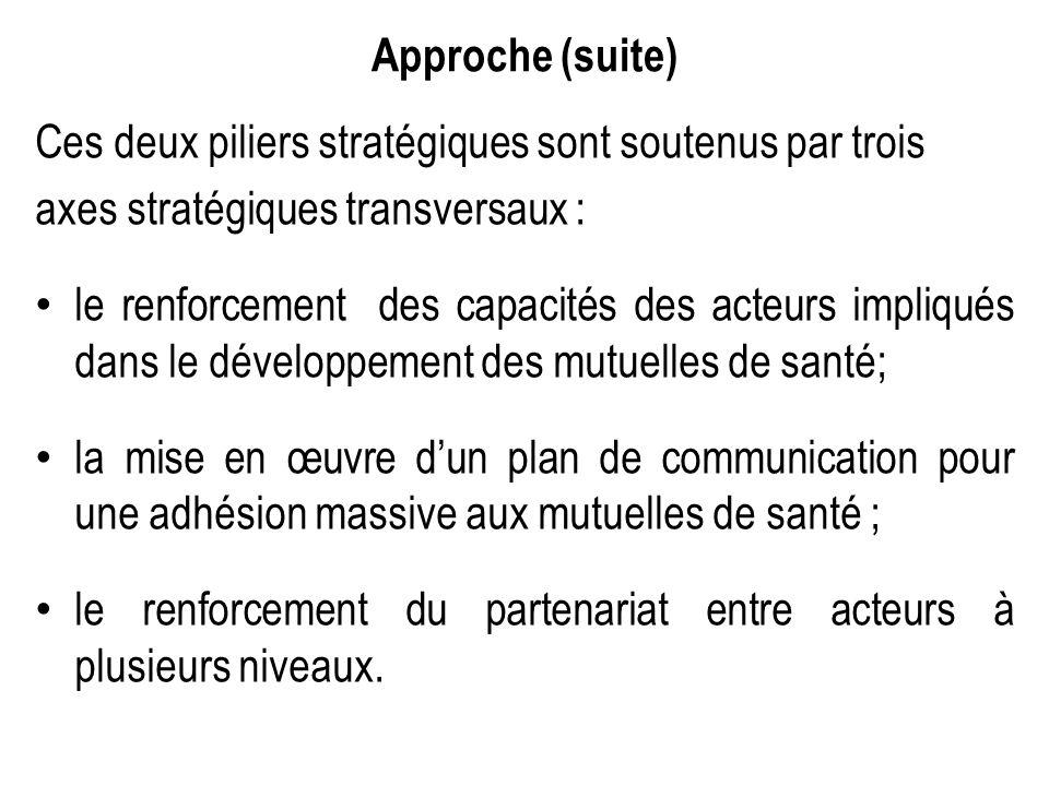 Approche (suite) Ces deux piliers stratégiques sont soutenus par trois. axes stratégiques transversaux :