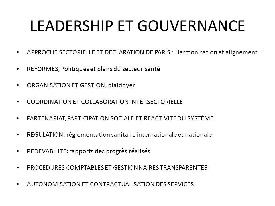 LEADERSHIP ET GOUVERNANCE